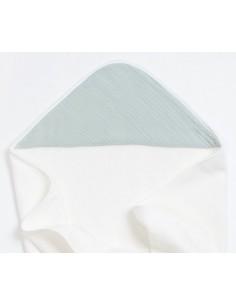 Bambusowy ręcznik z muślinowym kapturkiem 75x75cm Miętowy, Bim Bla