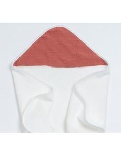 Bambusowy ręcznik z muślinowym kapturkiem 75x75cm Ceglany, Bim Bla