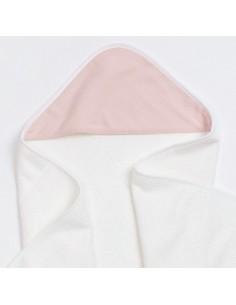 Bambusowy ręcznik z muślinowym kapturkiem 75x75cm Różowy, Bim Bla