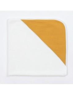 Bambusowy ręcznik z muślinowym kapturkiem 75x75cm Musztardowy, Bim Bla
