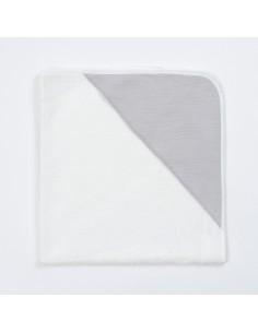Bambusowy ręcznik z muślinowym kapturkiem 75x75cm Szary, Bim Bla