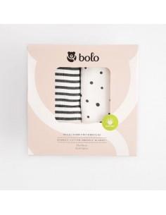 Otulacz bambusowo-bawełniany z aloesem 75x75cm DWUPAK grafitowy, Bolo
