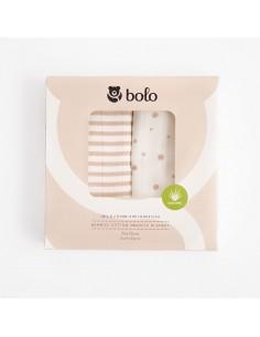 Otulacz bambusowo-bawełniany z aloesem 75x75cm DWUPAK beżowy, Bolo