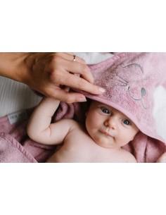 Ręcznik S i myjka BAMBUSOWA niemowlęca - zestaw vintage rose, Qbana Mama