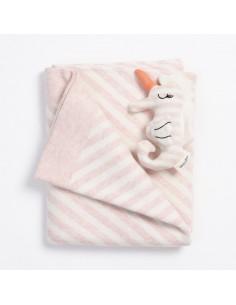 Kocyk bawełniany Bebe 80x100 - różowy, Bim Bla