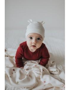Bambusowa czapeczka dla niemowlaka śmietankowa z uszami 0-3 miesięce, Samiboo