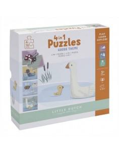 Puzzle 4 rodzaje zwierzątek Little Goose +2 lata, Little Dutch
