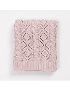 Kocyk bawełniany ażurowy 80x100 różowy, Bim Bla