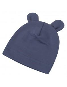 Bambusowa czapeczka dla niemowlaka granatowa z uszami 0-3 miesięce, Samiboo