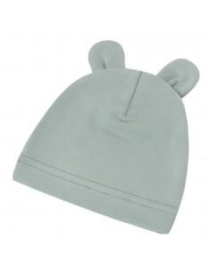 Bambusowa czapeczka dla niemowlaka zgaszona mięta z uszami 0-3 miesięce, Samiboo
