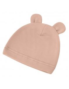 Bambusowa czapeczka dla niemowlaka beżowa z uszami 0-3 miesięce, Samiboo