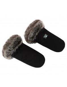 Mufki rękawice z futerkiem czarne, Samiboo