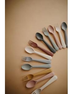 Sztućce dla dzieci do nauki samodzielnego jedzenia Vanilla, Mushie
