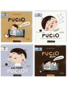 Zestaw 4 książeczek Pucio: Pucio mówi dzień dobry, Pucio mówi dobranoc, Zabawy gestem i dźwiękiem, Co robi Pucio? +0