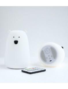Lampka silikonowa Miś Duży Biały z głośniczkiem, Rabbit and Friends