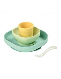 Komplet naczyń z silikonu z przyssawką Yellow, Beaba