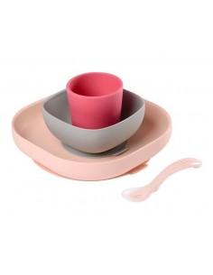 Komplet naczyń z silikonu z przyssawką Pink, Beaba