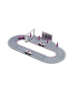 Drewniany Tor Wyścigowy Pink +3 lata, Kids Concept