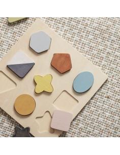 Puzzle Drewniane Kształty Geo +18 m-cy, Kids Koncept