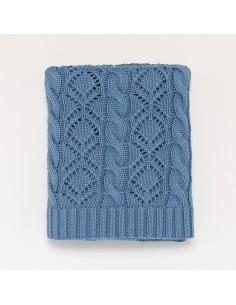 Kocyk bawełniany ażurowy 80x100 niebieski, Bim Bla