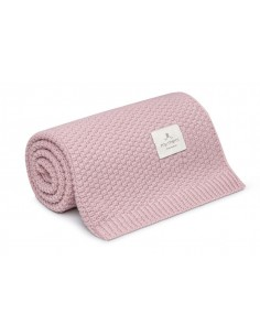 Kocyk ze 100% wełny merino powder pink - premium collection, Memi