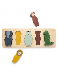 Drewniane puzzle kształty Animals +2 lata, trinie