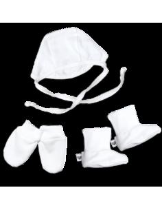 Mini zestaw dla maluszka (czapeczka, buciki, rękawiczki niedrapki) biały rozmiar 56, Nanaf Organic