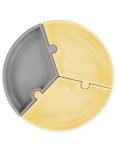 Talerzyk silikonowy Puzzle żółty/ szary, Minikoioi