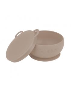 Miseczka silikonowa z przyssawką i pokrywką bubble beige, Minikoioi