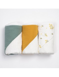 Bambusowy ręcznik niemowlęcy 75x75cm Yellow Mellow, Bim Bla