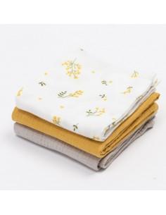 Zestaw trzech pieluszek muślinowych - Yellow Mellow, Bim Bla