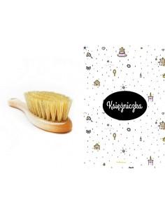 Szczotka z naturalnego włosia + pieluszka/ myjka muślinowa Księżniczka