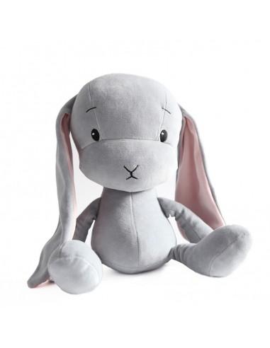 Królik Effik M SZARY - różowe uszy, 35 cm