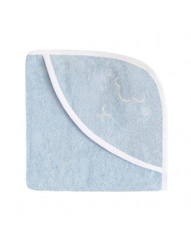 Ręcznik z kapturkiem Owieczka 95x95cm - niebieski