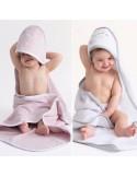 Ręcznik z kapturkiem Owieczka 95x95cm - biały z szarą lamówką